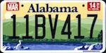 Official licens plate of Alabama state.