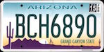 Official licens plate of Arizona state.