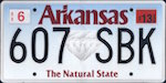 Official Arkansas state license plate.
