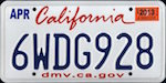 Official California state license plate.
