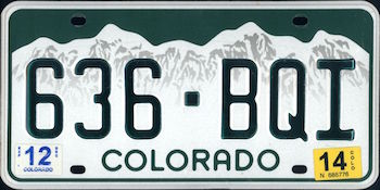 Official Colorado state license.
