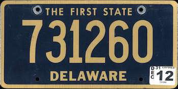 Official Delaware state license.
