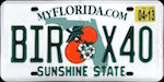 Official licens plate of Florida state.