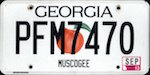 Official licens plate of Georgia state.
