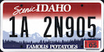 Official licens plate of Idaho state.