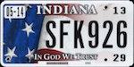 Official Indiana state license plate.