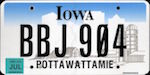 Official licens plate of Iowa state.