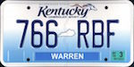 Official licens plate of Kentucky state.