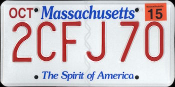 Official Massachusetts state license.