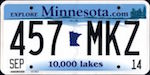 Official licens plate of Minnesota state.