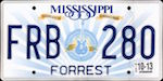 Official licens plate of Mississippi state.