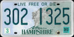 Official licens plate of New Hampshire state.