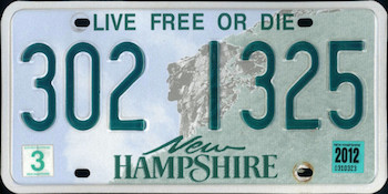 Official New Hampshire state license.