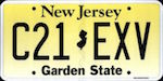 Official New Jersey state license plate.