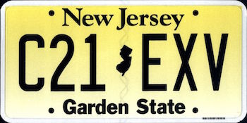 Official New Jersey state license.