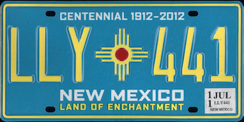 The official New Mexico state license plate.