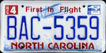 Official licens plate of North Carolina state.