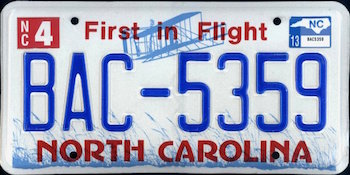 Official North Carolina state license.
