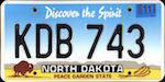 Official licens plate of North Dakota state.