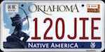 Official licens plate of Oklahoma state.