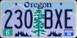 Official licens plate of Oregon state.