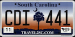 Official South Carolina state license plate.