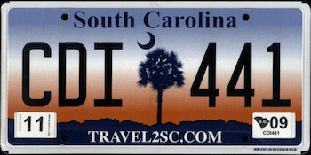 Official South Carolina state license.