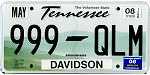 Official licens plate of Tennessee state.