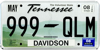 The official Tennessee state license plate.