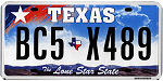 Official licens plate of Texas state.