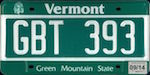 Official licens plate of Vermont state.