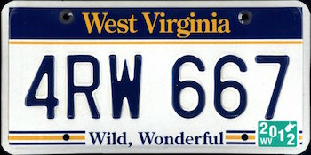 Official West Virginia state license.
