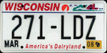 Official licens plate of Wisconsin state.