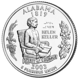 Reverse coin side (tails) of the Alabama quarter.