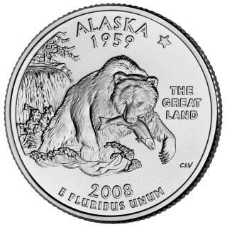Reverse coin side (tails) of the Alaska quarter.
