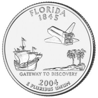 Reverse coin side (tails) of the Florida quarter.