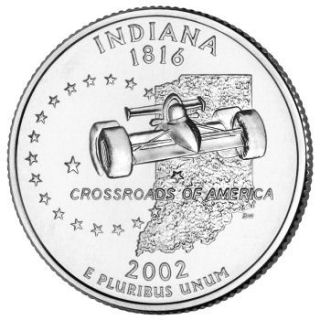 Reverse coin side (tails) of the Indiana quarter.