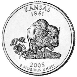 Reverse coin side (tails) of the Kansas quarter.