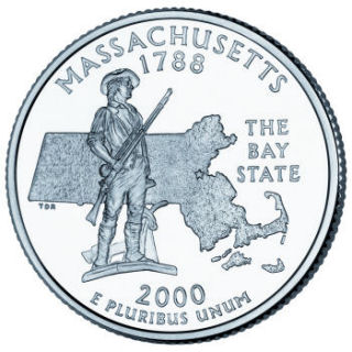 Reverse coin side (tails) of the Massachusetts quarter.