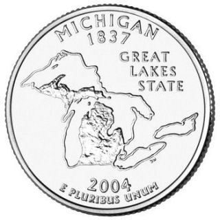 Reverse coin side (tails) of the Michigan quarter.