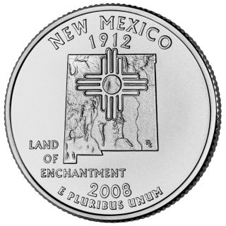 Reverse coin side (tails) of the New Mexico quarter.