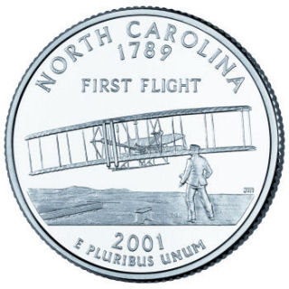 Reverse coin side (tails) of the North Carolina quarter.