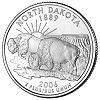 Commemorative state quarter of North Dakota.