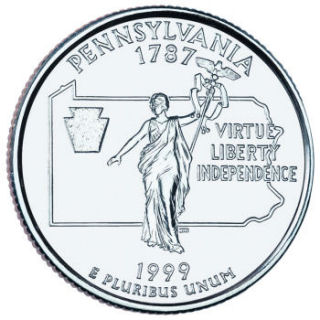 Reverse coin side (tails) of the Pennsylvania quarter.
