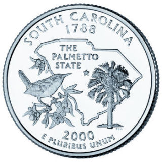 Reverse coin side (tails) of the South Carolina quarter.