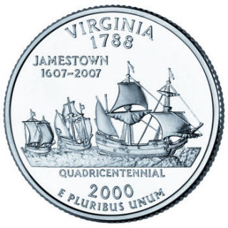 Reverse coin side (tails) of the Virginia quarter.