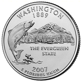 Reverse coin side (tails) of the Washington quarter.