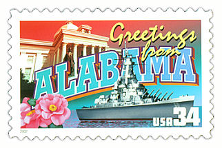 34 cent Alabama state stamp.