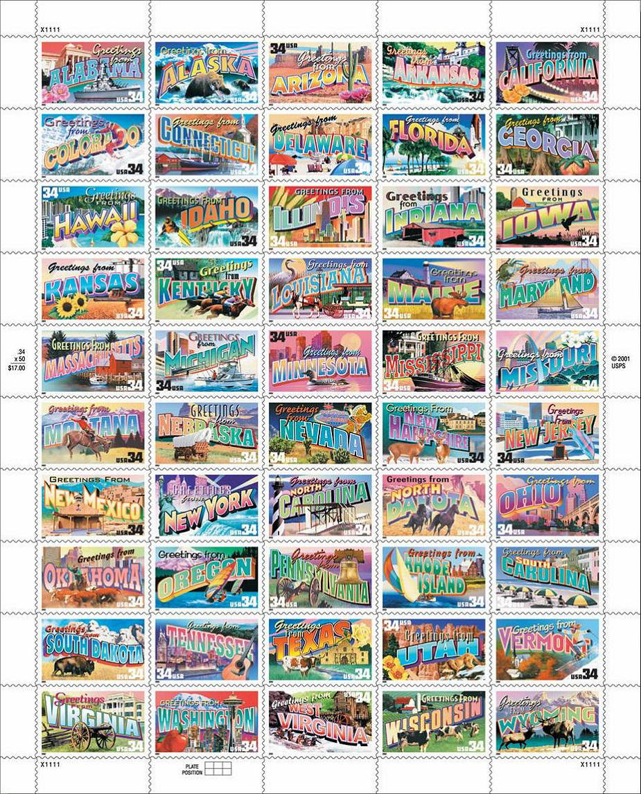 View sheet of 50 state stamps from the series.