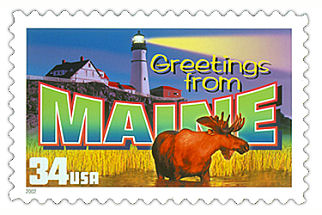 34 cent Maine state stamp.